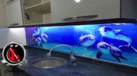 Tezgah Arası Cam Panel 3lü yunus balıkları