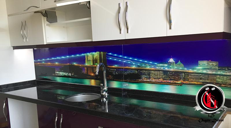 Tezgah Arası Cam Panel Boğaz Manzarası köprü