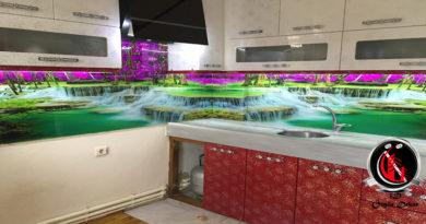 Tezgah Arası Cam Panel Şelale